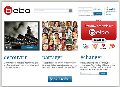 Bebo home page
