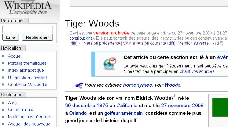 Tiger Woods mort